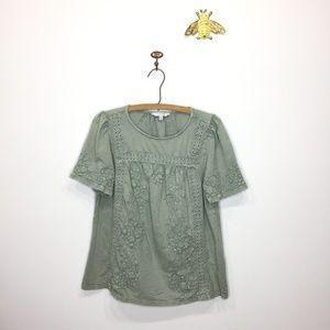 Lucky Brand moss green embroidered shirt M 0198
